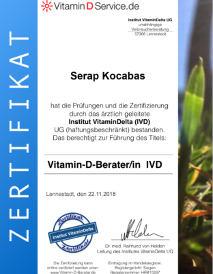 Zertifikat Vitamin D Beraterin